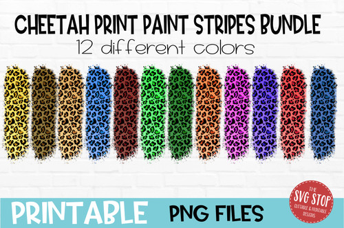 Cheetah Leopard print paint stripes bundle  team colors paint brush strokes sublimation svg png clipart design