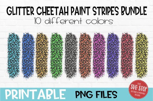 Glitter Cheetah Leopard print paint stripes bundle  team colors paint brush strokes sublimation svg png clipart design