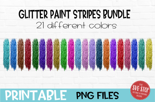 Glitter paint stripes bundle  team colors paint brush strokes sublimation svg png clipart design