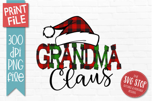 Grandma Claus Sublimation PNG Printable File Buffalo Plaid Filled Letters