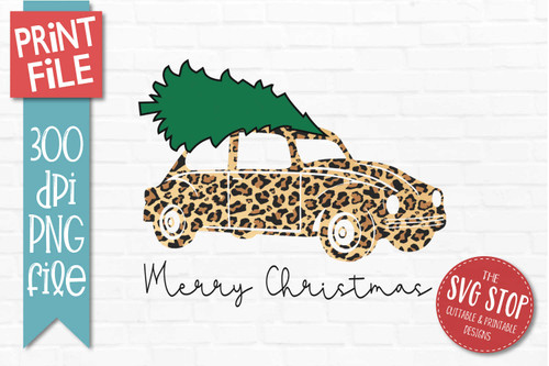 Christmas Tree Sublimation Plaid Glitter Cheetah Vintage Car Truck Png Printable designs