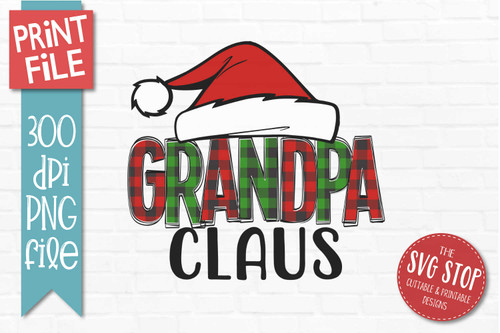 Grandpa Claus Sublimation PNG Printable File Buffalo Plaid Filled Letters