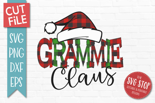 Grammie Claus Sublimation PNG Printable File Buffalo Plaid Filled Letters