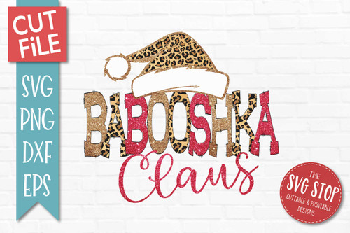 Babooshka Claus Sublimation PNG Printable File Cheetah Glitter Filled Letters