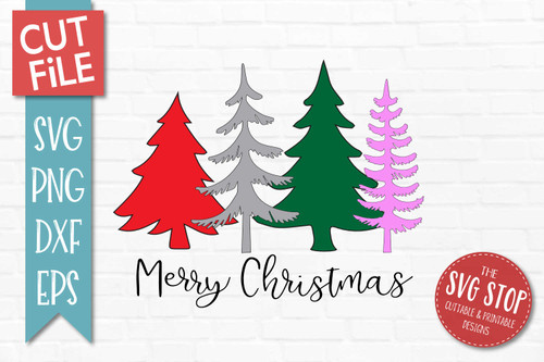 Merry Christmas Trees SVG Cut File clip art design