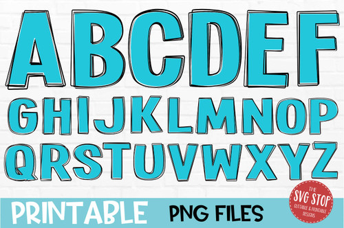 scribble outline font aqua filled