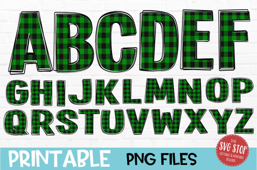 scribble outline font green plaid filled
