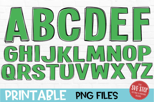 scribble outline font green filled