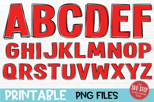 scribble outline font red filled
