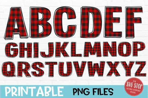 scribble outline font red buffalo plaid filled