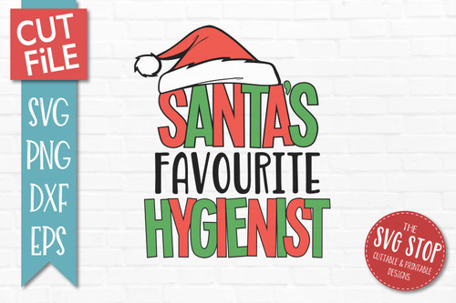 Santas Favourite Hygienist Christmas SVG Cut File clip art design