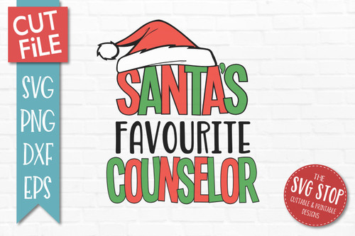 Santas Favourite Counselor Christmas SVG Cut File clip art design