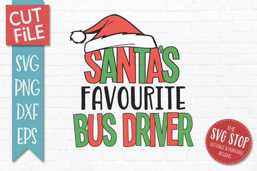 Santas Favourite Bus Driver Christmas SVG Cut File clip art design