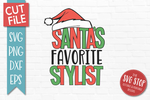 Santas Favorite Stylist Christmas SVG Cut File clip art design