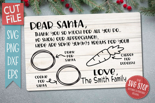 Santa Tray SVG Template for silhouette and Cricut
