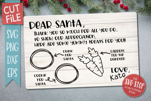 Dear Santa Tray SVG Sublimation Design