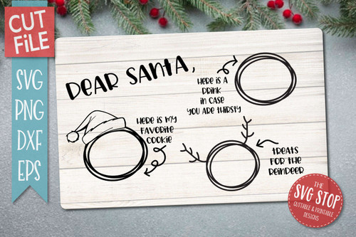 Dear Santa christmas cookie plate svg