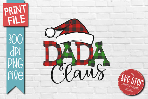 DADA Clause buffalo plaid christmas sublimation design