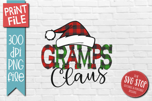 Gramps Claus buffalo plaid christmas sublimation design