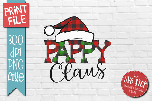 PAPPY Claus buffalo plaid christmas sublimation design