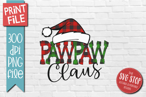 PAWPAW Claus buffalo plaid christmas sublimation design