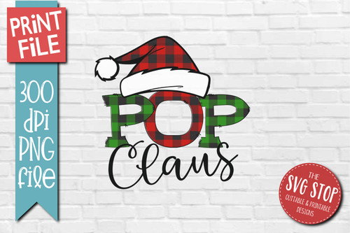 POP Claus buffalo plaid christmas sublimation design
