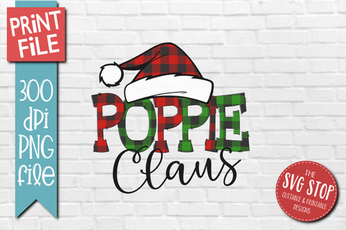 Poppie Claus buffalo plaid christmas sublimation design