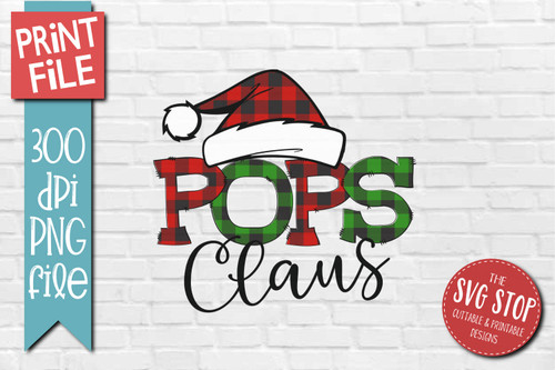 POPS Claus buffalo plaid christmas sublimation design