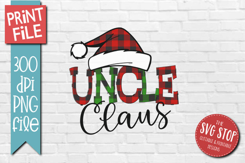 Uncle Claus buffalo plaid christmas sublimation design