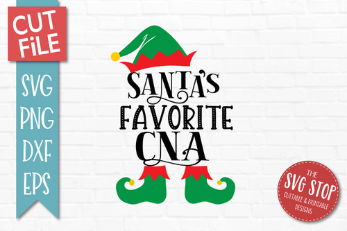 Santas Favorite CNA SVG Christmas Clipart Cut file Elf Hat