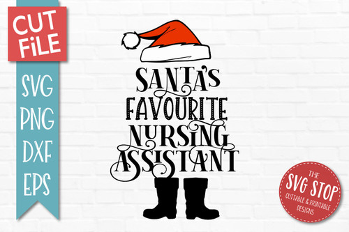Santas Favourite Nursing Assistant SVG Christmas Clipart Cut file Santa Hat
