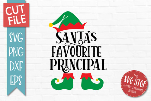 Santas Favourite Principal SVG Christmas Clipart Cut file Santa Hat