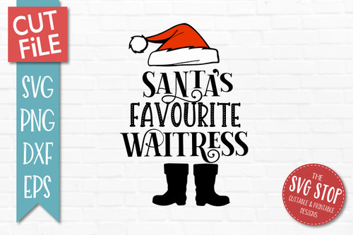 Santas Favourite Waitress SVG Christmas Clipart Cut file Santa Hat