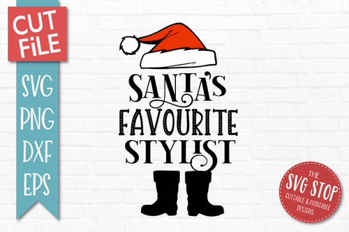 Santas Favourite Stylist SVG Christmas Clipart Cut file Santa Hat