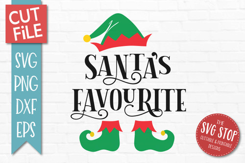 Santas Favourite SVG Christmas Clipart Cut file Elf Hat
