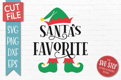 Santas Favorite SVG Christmas Clipart Cut file Elf Hat