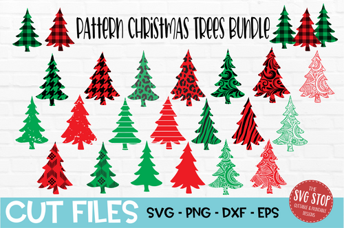 Buffalo Plaid pattern trees svg cut files with cuttable patterns