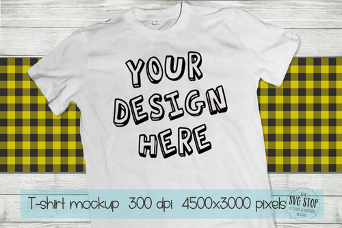 white tshirt mockup with yellow plaid scarf background