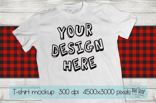 white tshirt mockup with red plaid scarf background