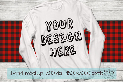 long sleeve white tshirt mockup with red plaid scarf background