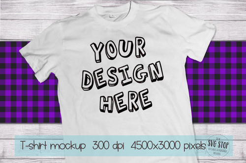 white tshirt mockup with purple plaid scarf background