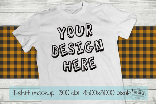 white tshirt mockup with Orange plaid scarf background