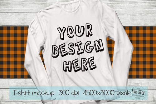 long sleeve white tshirt mockup with Orange plaid scarf background