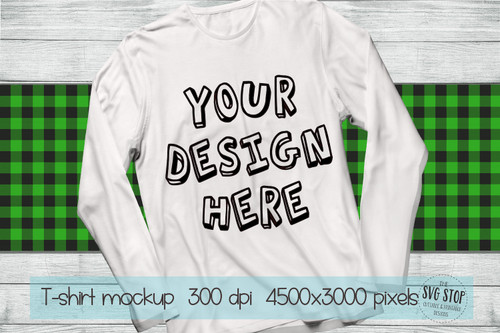 long sleeve white tshirt mockup with Green plaid scarf background