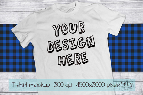 white tshirt mockup with Blue plaid scarf background