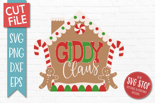 Giddy Claus Gingerbread SVG cut file and PNG sublimation transfer