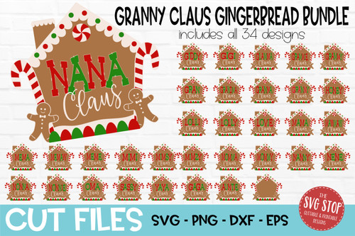 Granny Claus Gingerbread House SVG  Bundle cut file and PNG sublimation transfer