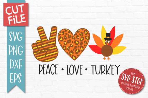 peace love turkey thanksgiving svg cut file