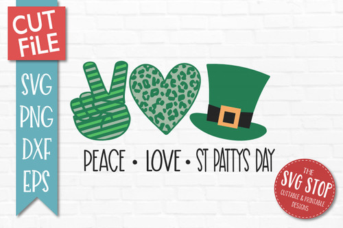 peace love St Patricks Day svg  cut file clipart