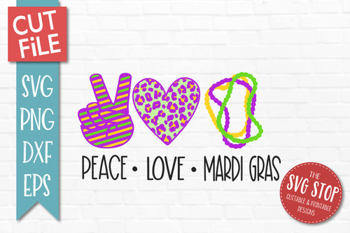 peace love Mardi Gras svg  cut file clipart